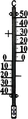 Buitenthermometer metaal 38cm - Zwart