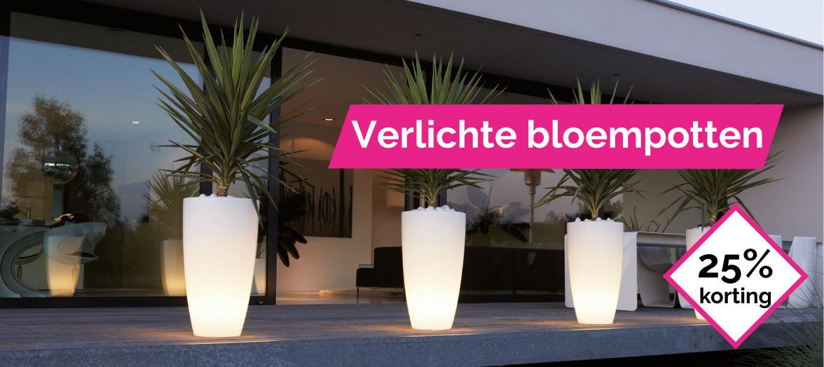 Elho verlichte bloempotten 25% korting Wishpel-bloempotten.nl